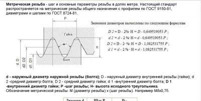 Высота исходного треугольника резьбы